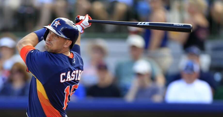 Catcher Jason Castro at bat during the first inning. Photo: Karen Warren, Houston Chronicle
