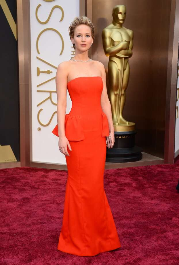 Jennifer Lawrence arrives at the Oscars on Sunday, March 2, 2014, at the Dolby Theatre in Los Angeles. Photo: Jordan Strauss, Associated Press