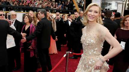 Cate Blanchett arrives at the Oscars on Sunday, March 2, 2014, at the Dolby Theatre in Los Angeles.  (Photo by Matt Sayles/Invision/AP)