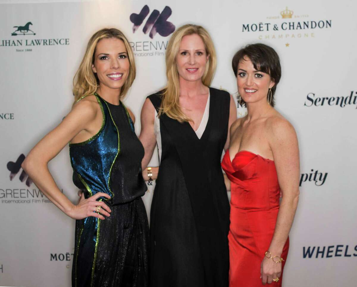 Left to right; Carina Crain, CEO, Wendy Stapleton Reyes, Executive Director, and Colleen deVeer, Director of Programing, of the Greenwich International Film Festival organization pose for a photo at their event