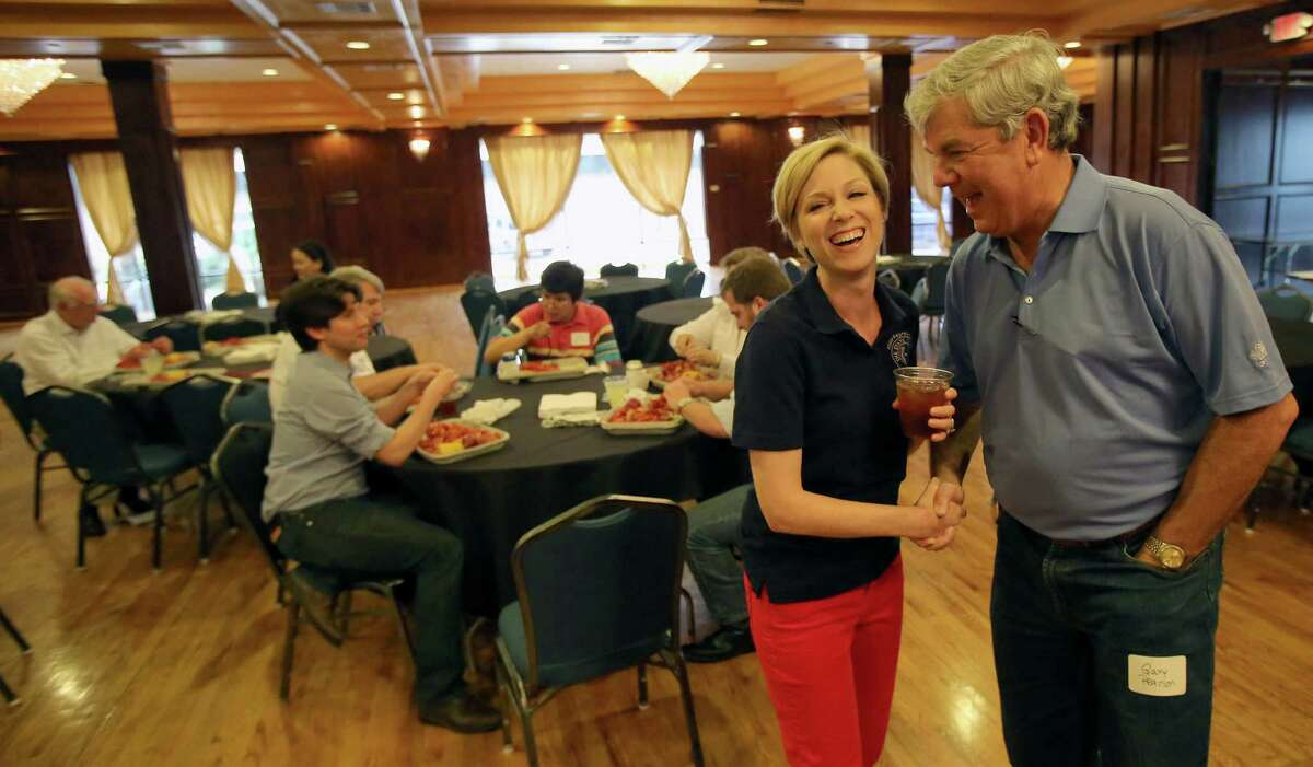 Gary Pearson is one of many voters District 134 House Rep. Sarah Davis greeted at a crawfish boil.