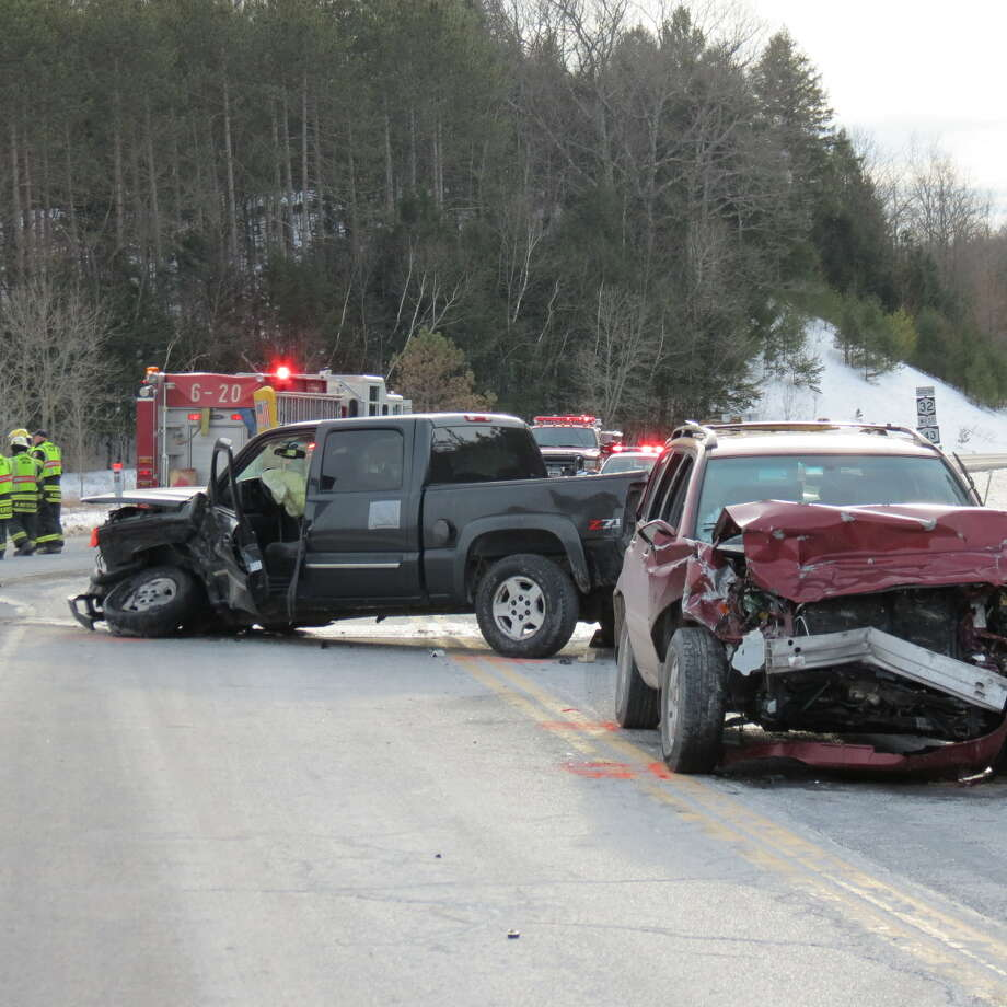 Coeymans police investigated a serious, two-vehicle crash on Route 143 on Sunday. (Tom Heffernan Sr./Special to the Times Union)