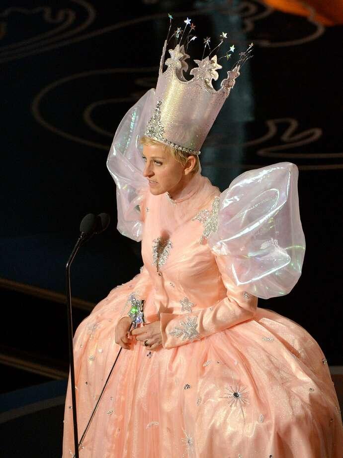 Ellen DeGeneres, as Glinda the Good Witch,  had little magic as host. Photo: John Shearer, Associated Press
