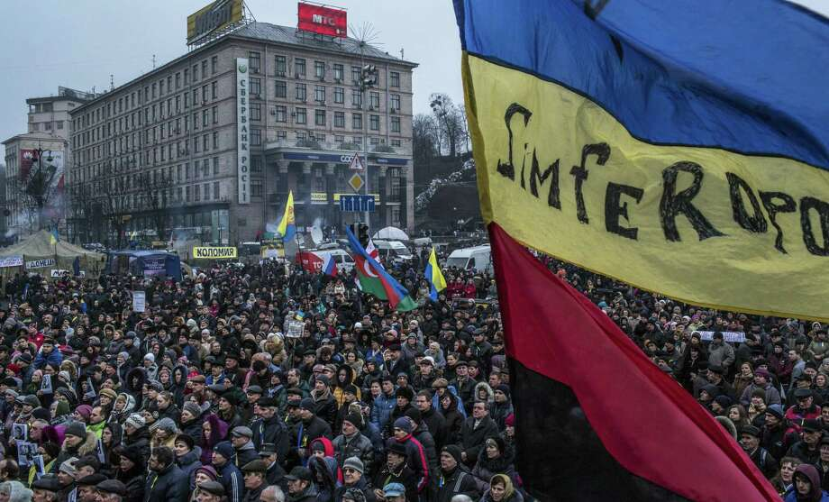 Protesters gather at Independence Square in Kiev, Ukraine, during a rally opposing the Russian incursion in Crimea. Photo: Mauricio Lima / New York Times / NYTNS