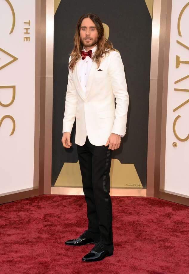Best. Jared Leto got the white tux memo (also given to Matthew McConaughey and Ryan Seacrest), pairing his white Saint Laurent jacket with a red bow-tie. Photo: Jason Merritt, Getty Images