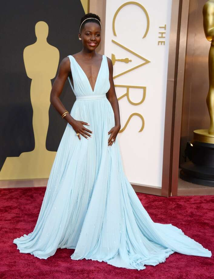 Best. Lupita Nyong'o worked with her stylist to design this deep-V, light blue pleated Prada, resulting in a modern Cinderella effect. Photo: Jordan Strauss, Associated Press