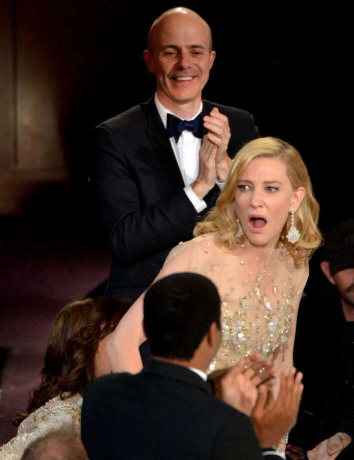 "Cate Blanchett reacts after winning the award for best actress in a leading role for ""Blue Jasmine"" during the Oscars at the Dolby Theatre on Sunday, March 2, 2014, in Los Angeles. Photo: John Shearer, Associated Press"