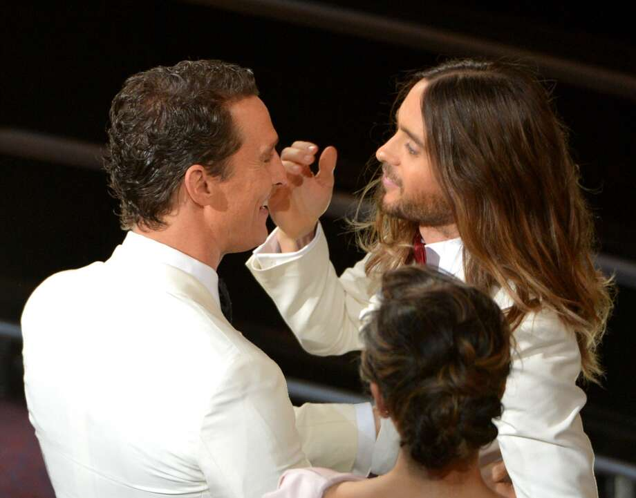 Matthew McConaughey, left, congratulates Jared Leto in the audience during the Oscars at the Dolby Theatre on Sunday, March 2, 2014, in Los Angeles. Photo: John Shearer, Associated Press