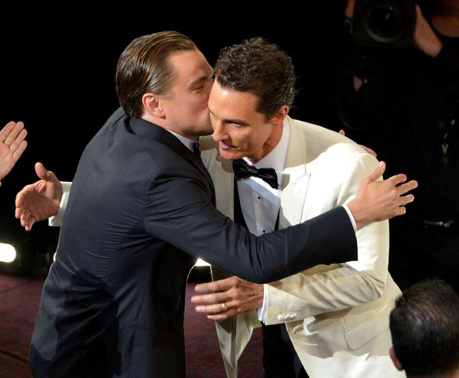 "Leonardo DiCaprio, left, congratulates Matthew McConaughey for winning the award for best actor in a leading role for ""Dallas Buyers Club"" during the Oscars at the Dolby Theatre on Sunday, March 2, 2014, in Los Angeles. Photo: John Shearer, Associated Press"