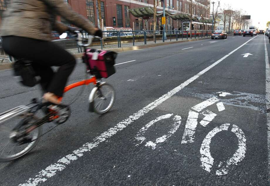 ... later come the bike lanes and sharrows. Photo: Paul Chinn, The Chronicle