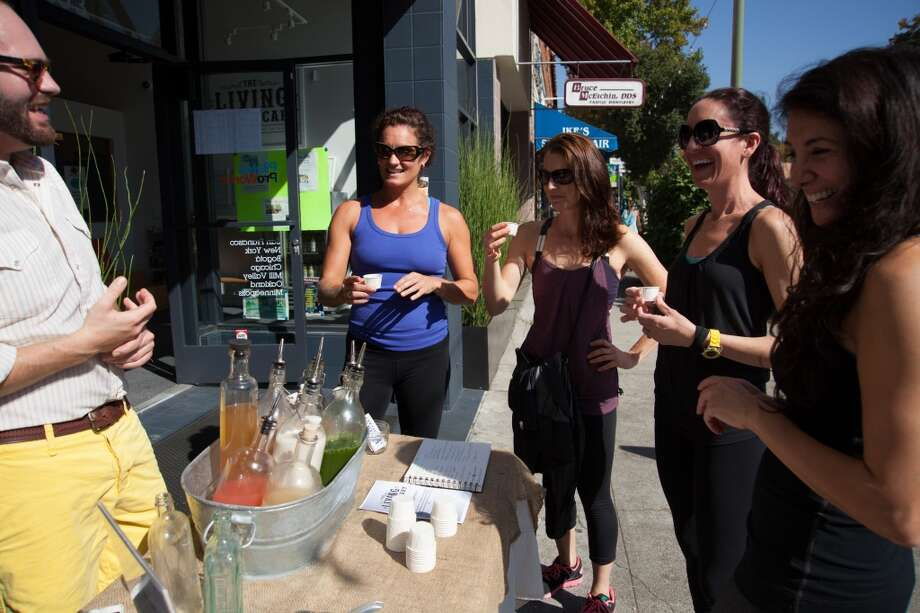 Gentrifiers like their fitness, especially SoulCycle, Crossfit, yoga and Pilates. And there's no going back if there is a nearby organic juice bar. Pictured: The Living Apothecary opened a juice outpost at the Pilates ProWorks studio in Oakland. Photo: Nicole Rosario