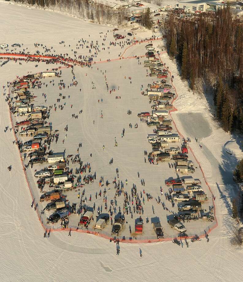 Mushers stage their teams before the start of the Iditarod Trail Sled Dog Race, Sunday, March 2, 2014, in Willow, Alaska. (AP Photo/Anchorage Daily News, Bob Hallinen) Photo: Bob Hallinen, Associated Press