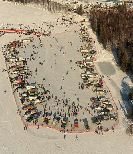 Mushers stage their teams before the start of the Iditarod Trail Sled Dog Race, Sunday, March 2, 201