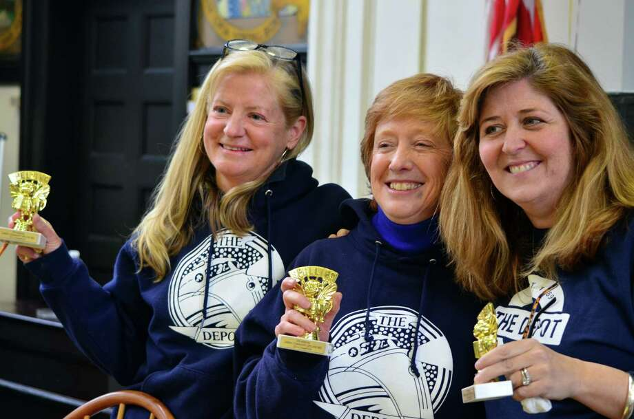 "Tara Cochran, Jean Traver and Dot Gifford were the winner's of the annual Darien Depot Spelling Bee on Sunday, March 2 for their correct spelling of ""mnemonic."" Photo: Megan Spicer / Darien News"