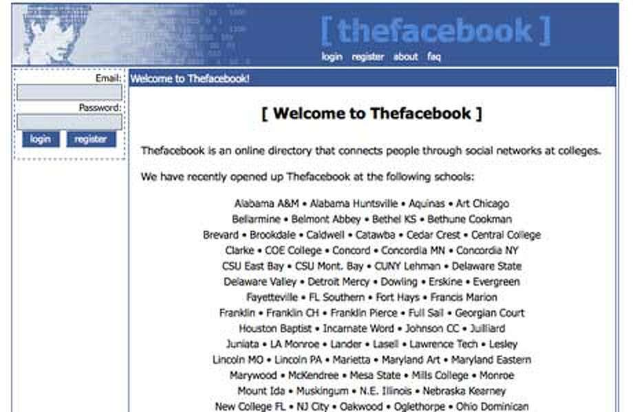 FacebookLaunched in 2004 Photo: Wayback Machine