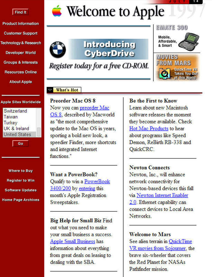 AppleLaunched in 1987 (screenshot from 1997) Photo: Wayback Machine