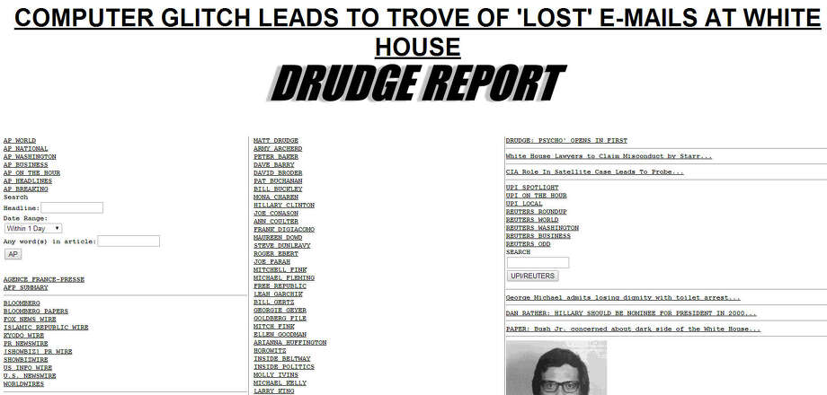 Drudge ReportLaunched in 1997 (screenshot from 1998) Photo: Wayback Machine