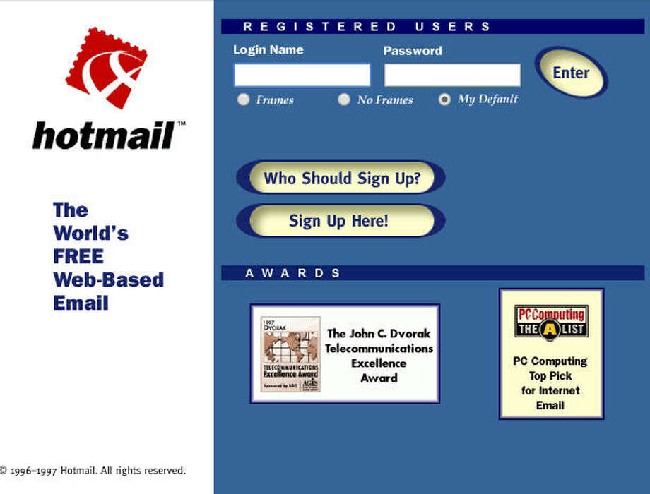 HotmailLaunched in 1996 Photo: Wayback Machine