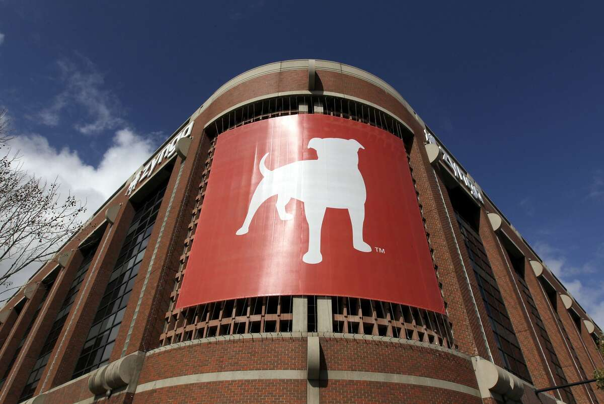 Zynga's corporate logo hangs above entrance to the gaming software's headquarters at Eighth and Townsend streets in San Francisco, Calif. on Thursday, Feb. 27, 2014.