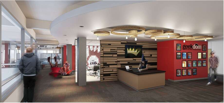 A drawing of the reception area at the new Geekdom in the Rand Building, 100 E. Houston St., set to open March 31. Photo: Alamo Architects, Courtesy