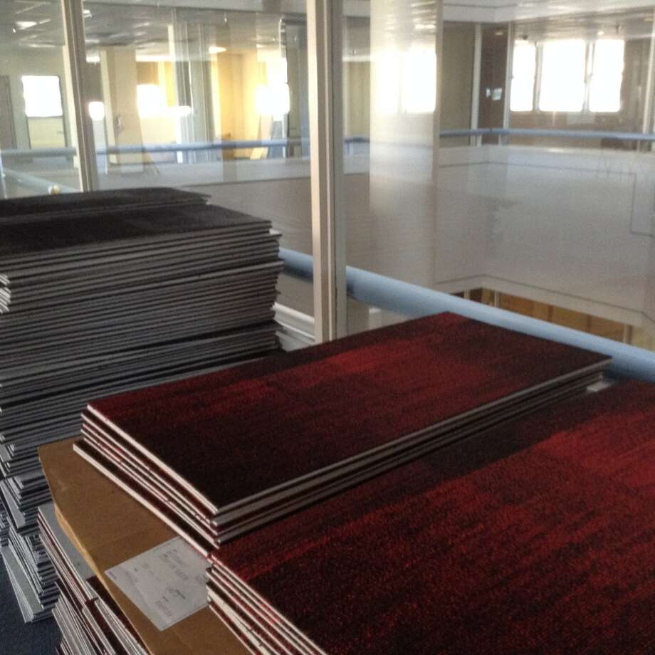 Some of the Matrix-like carpet that will be installed in the new Geekdom. Photo: Benjamin Olivo, MySA.com