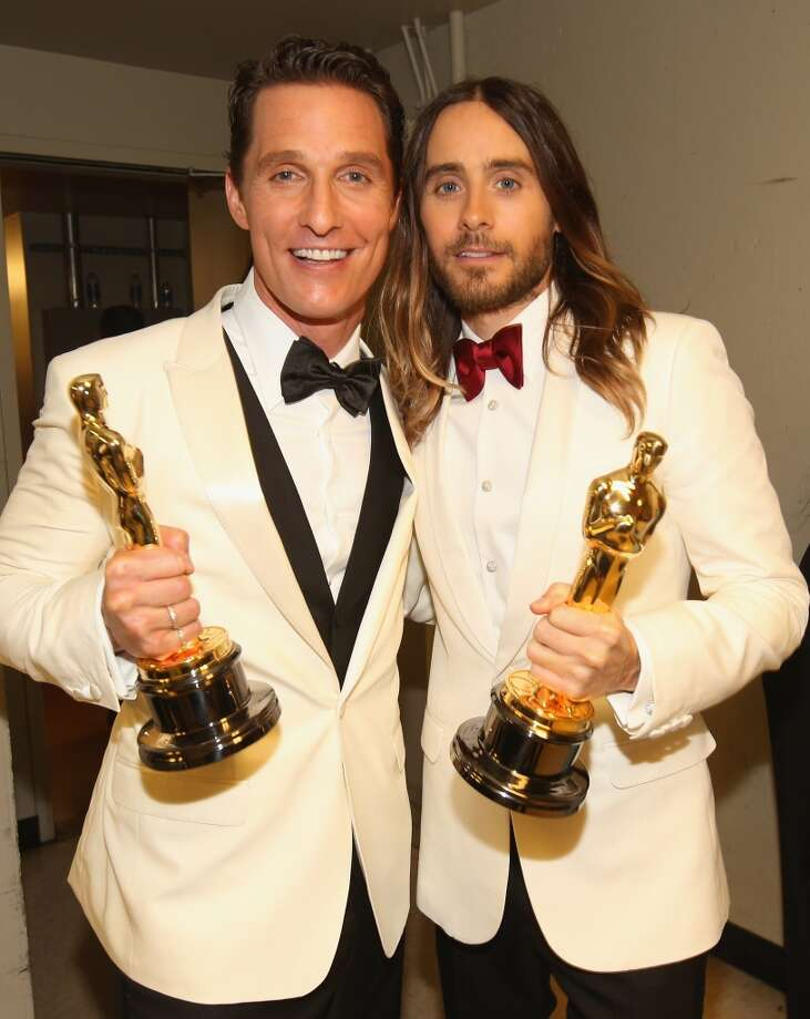 Best Actor and Best Supporting actors MatthewMcConaughey and Jared Leto chose white dinner jackets (Dolce & Gabbana and Saint Laurent), and both wone. Coincidence? Photo: Christopher Polk, Getty Images