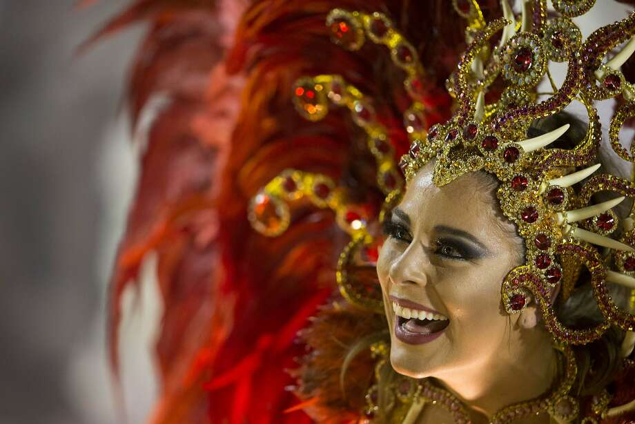 A performer from the Imperio da Tijuca samba school parades on a float during carnival celebrations at the Sambadrome in Rio de Janeiro, Brazil, Sunday, March 2, 2014. (AP Photo/Felipe Dana) Photo: Felipe Dana, Associated Press