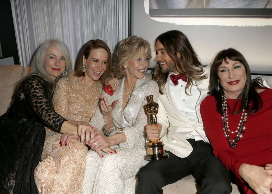 (L-R) Constance Leto, actress Sarah Paulson, actress Jane Fonda, actor Jared Leto, and actress Anjelica Huston attend the 2014 Vanity Fair Oscar Party Hosted By Graydon Carter on March 2, 2014 in West Hollywood, California. Photo: Jeff Vespa/VF14, WireImage