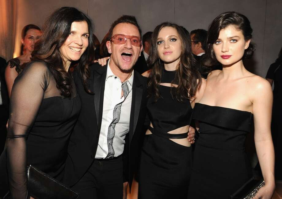 Alison Hewson, Bono, Jordan Hewson and Eve Hewson attend the 2014 Vanity Fair Oscar Party Hosted By Graydon Carter on March 2, 2014 in West Hollywood, California. Photo: Kevin Mazur/VF14, WireImage