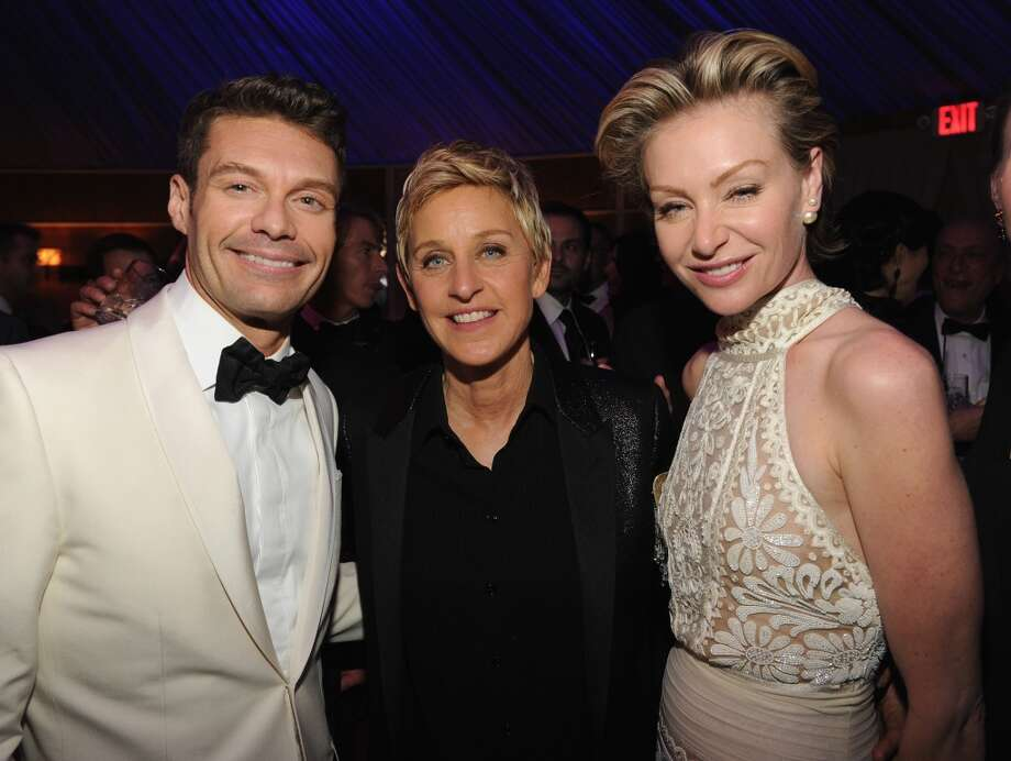 Ryan Seacrest, Ellen DeGeneres and Portia de Rossi attend the 2014 Vanity Fair Oscar Party Hosted By Graydon Carter on March 2, 2014 in West Hollywood, California. Photo: Kevin Mazur/VF14, WireImage