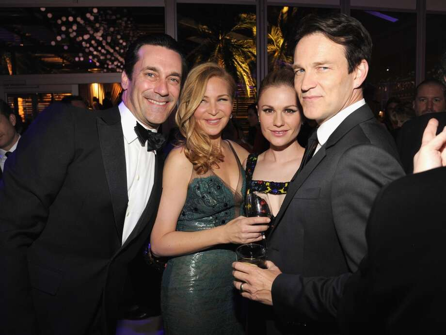 Jon Hamm, Jennifer Westfeldt, Anna Paquin and Stephen Moyer attend the 2014 Vanity Fair Oscar Party Hosted By Graydon Carter on March 2, 2014 in West Hollywood, California. Photo: Kevin Mazur/VF14, WireImage