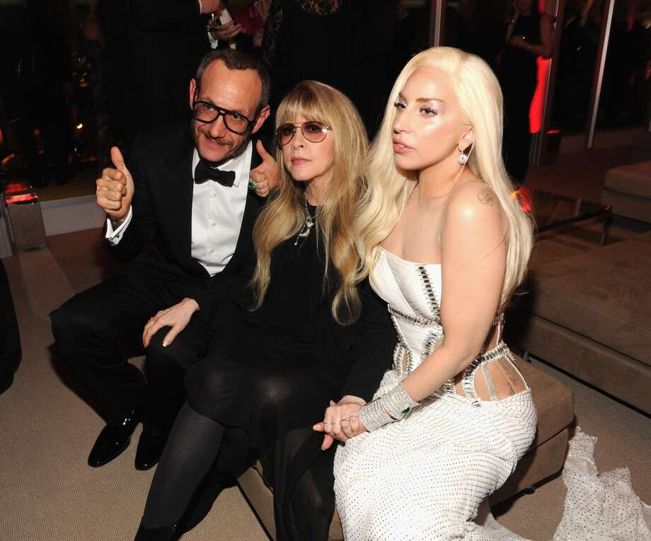 Terry Richardson, Stevie Nicks and Lady Gaga attend the 2014 Vanity Fair Oscar Party Hosted By Graydon Carter on March 2, 2014 in West Hollywood, California. Photo: Kevin Mazur/VF14, WireImage
