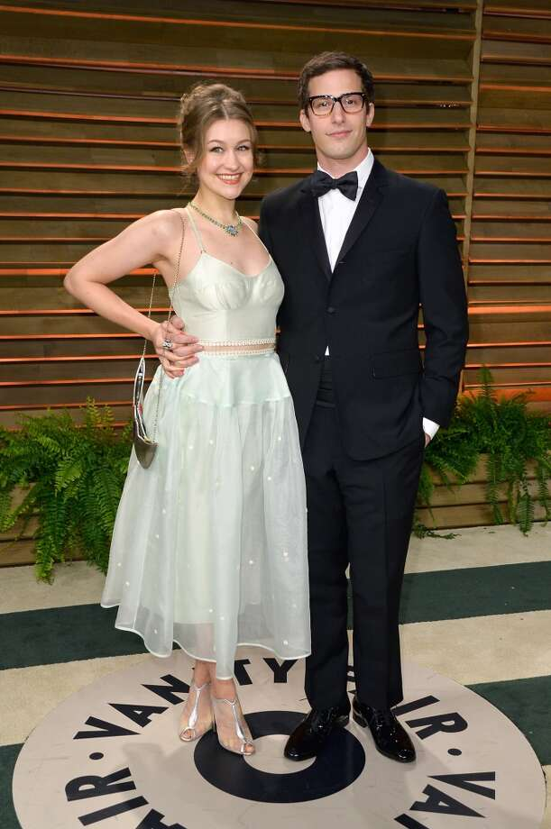 Actors Joanna Newsom (L) and Andy Samberg attend the 2014 Vanity Fair Oscar Party hosted by Graydon Carter on March 2, 2014 in West Hollywood, California. Photo: Pascal Le Segretain, Getty Images