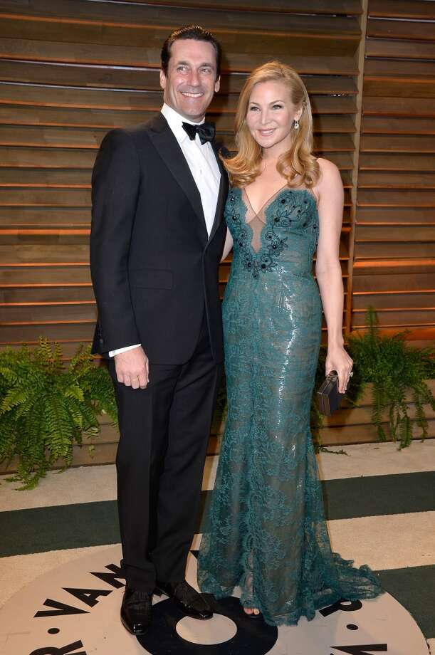 Actors Jon Hamm (L) and Jennifer Westfeldt attend the 2014 Vanity Fair Oscar Party hosted by Graydon Carter on March 2, 2014 in West Hollywood, California. Photo: Pascal Le Segretain, Getty Images