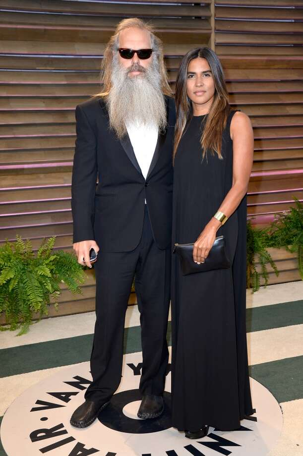 Music producer Rick Rubin (L) and actress/producer Mourielle Herrera attend the 2014 Vanity Fair Oscar Party hosted by Graydon Carter on March 2, 2014 in West Hollywood, California. Photo: Pascal Le Segretain, Getty Images