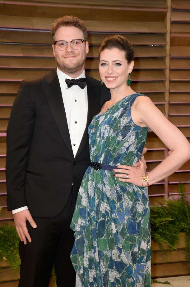 Actors Seth Rogen (L) and Lauren Miller attends the 2014 Vanity Fair Oscar Party hosted by Graydon Carter on March 2, 2014 in West Hollywood, California. Photo: Pascal Le Segretain, Getty Images