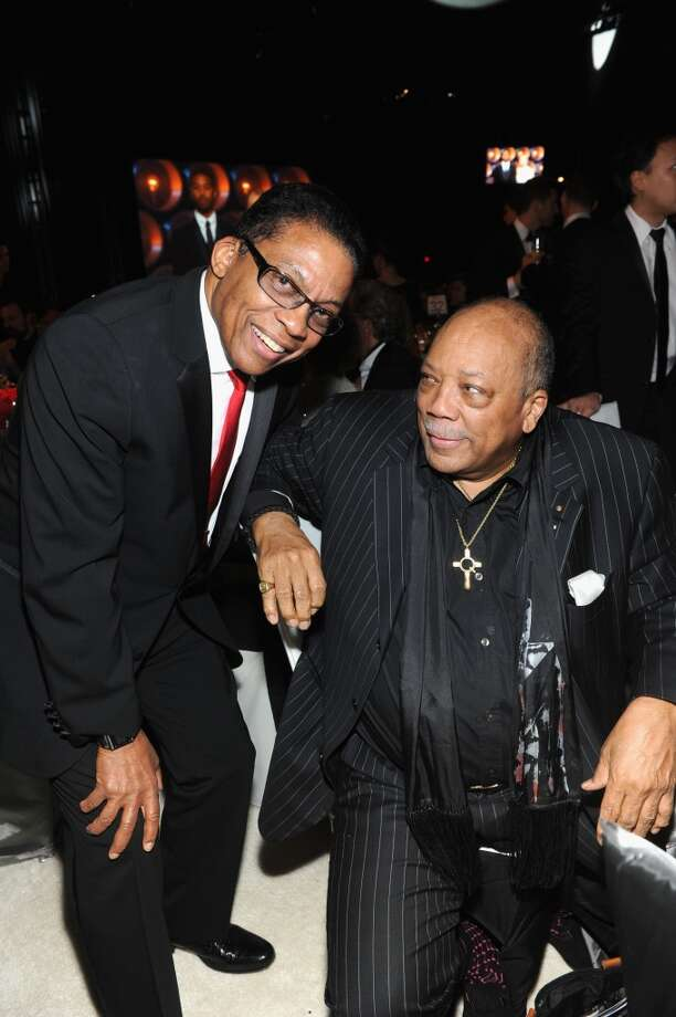 Musician Herbie Hancock (L) and producer Quincy Jones attend the 22nd Annual Elton John AIDS Foundation Academy Awards Viewing Party at The City of West Hollywood Park on March 2, 2014 in West Hollywood, California. Photo: Jamie McCarthy, Getty Images For EJAF