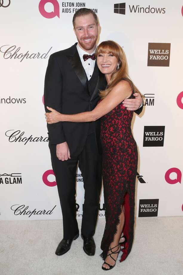 Actress Jane Seymour (R) and son Sean Flynn attend the 22nd Annual Elton John AIDS Foundation's Oscar Viewing Party on March 2, 2014 in Los Angeles, California. Photo: Frederick M. Brown, Getty Images