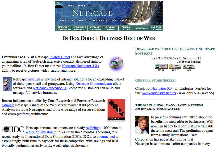 Netscape screenshot in 1995. Netscape's created the Mozilla Organization which developed the Firefox browser. Photo: Wayback Machine