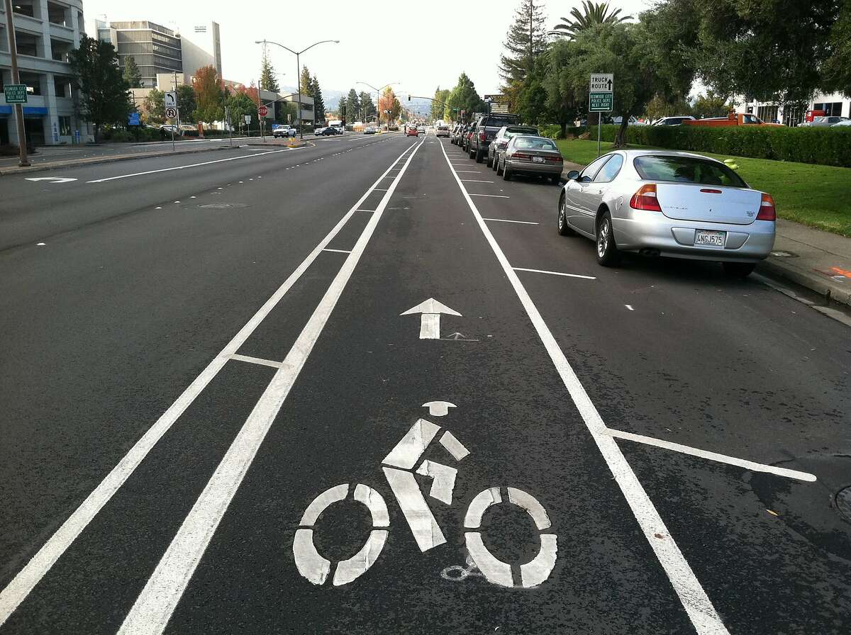 Veterans Blvd. buffered bike lane 2011: Many cities and towns are trying out new bike infrastructure, such as this buffered lane on Veterans Boulevard in Redwood City. The RSST would like to see consistently implemented designs throughout the Peninsula and South Bay. Photo: City of Redwood City