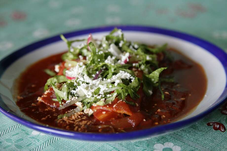 Enchiladas rojas at Sylvia's Enchilada Kitchen.  (Photo:  Meg Loucks / Chronicle ) Photo: Meg Loucks, Houston Chronicle