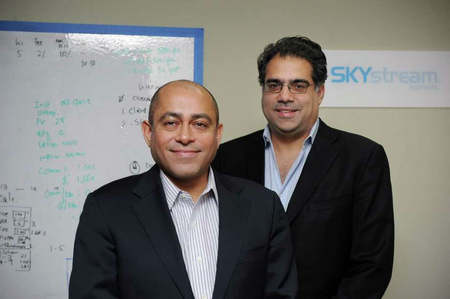 Naeem Hukkawala, and Kapil Mohindra  are the co-founders of Skystream Markets. The company is a 5-year-old startup that facilitates trading in the renewable-energy and environmental markets, they are photographed in their Stamford, Conn. office on Monday March 3, 2014. Photo: Dru Nadler / Stamford Advocate Freelance
