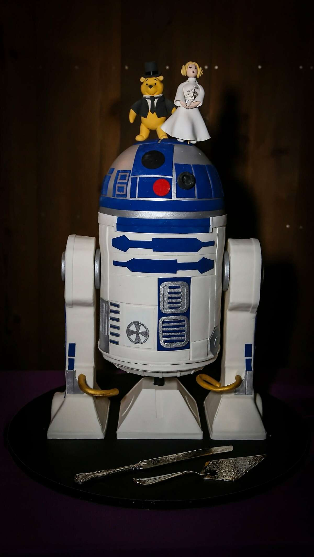 On Jan. 11, Marcella Mission and Ike Shehadeh met at the Palace of Fine Arts rotunda and exchanged more vows. The R2D2-shaped cake (the couple are