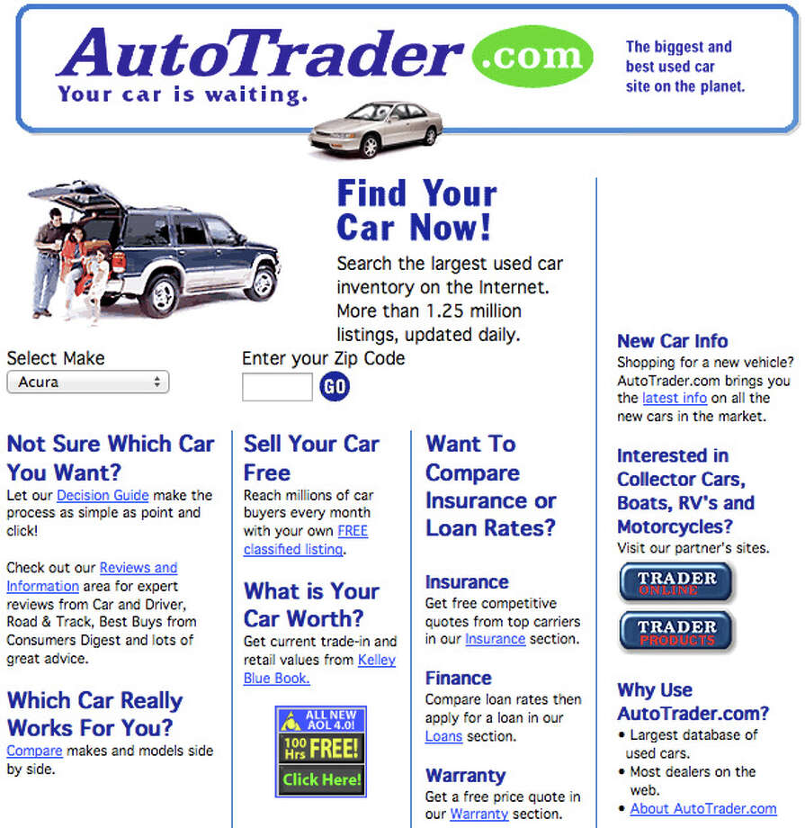 Auto Trader Launched in 1997 (screenshot from 1998) Photo: Wayback Machine