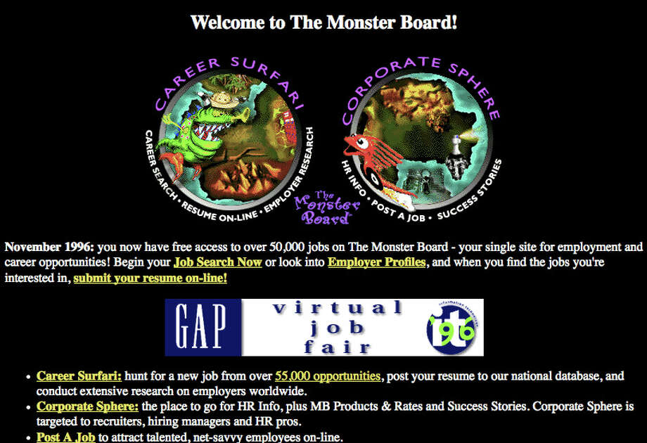 Monster Launched 1994 (screenshot from 1996) Photo: Wayback Machine