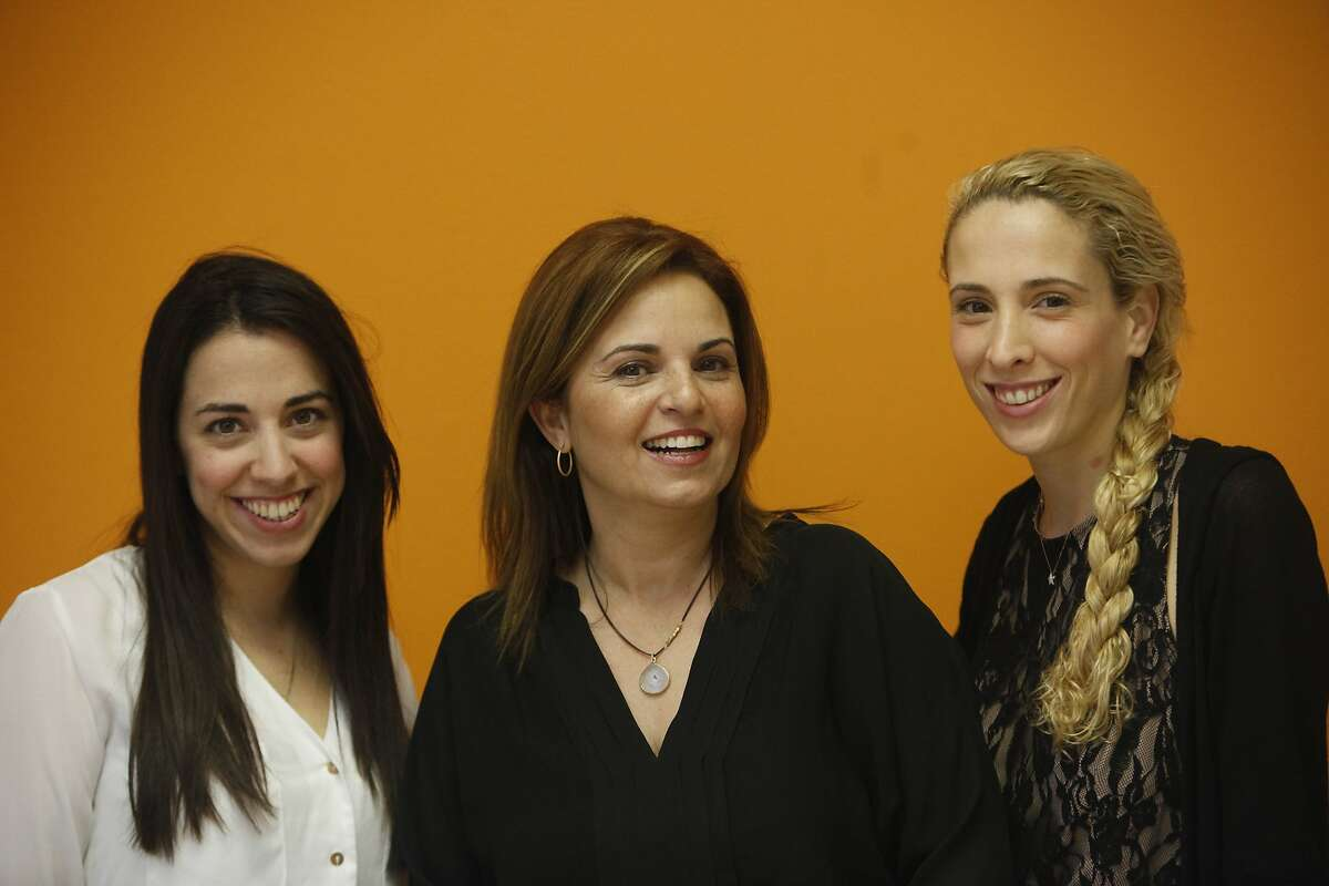 Sharon Savariego (l to r), Leaderz CEO and co-founder; Shuly Galili, co-founder Upwest Labs, and Liat Zakay, Donde CEO pose for a photograph at Upwest Labs on Friday, February 28, 2014 in Palo Alto, Calif.