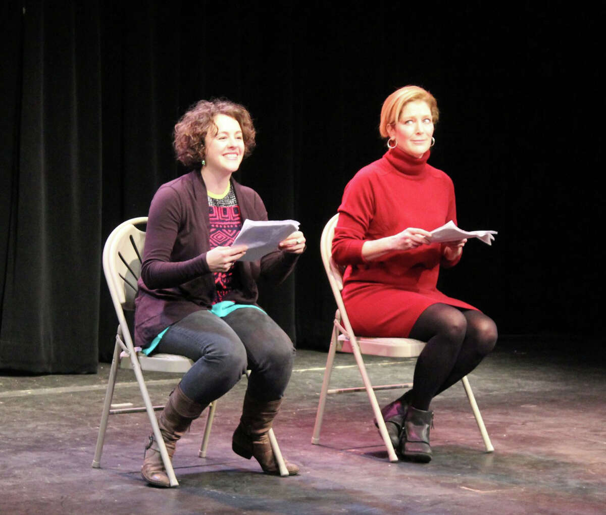 Fairfield County actors Bethany Caputo and Patricia Kalember bring a short comedy script to life at one of last month's performances of Play With Your Food,