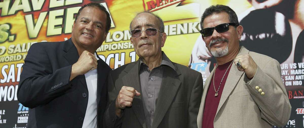 Mike Ayala (from right), Jesse Leija and Rafael Ramos are the latest additions to the San Antonio Boxing Hall of Fame.