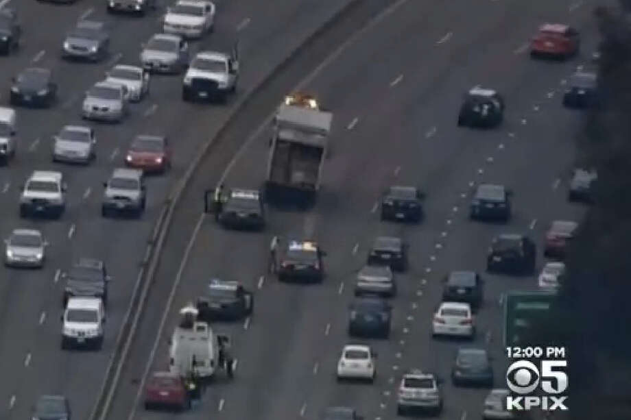 A man was arrested after a police chase across the Bay Bridge snarled morning traffic. Photo: CBS San Francisco
