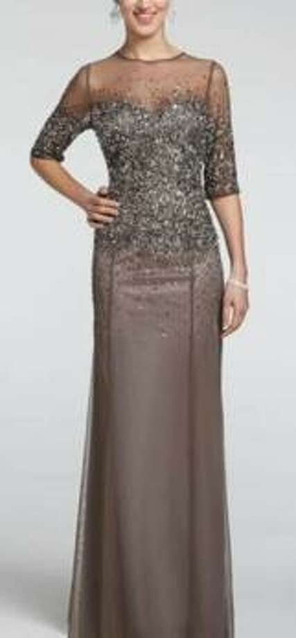 3/4-sleeve mesh dress with sequins, $299, David's Bridal